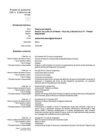 Curriculum vitae - Società della Salute di Firenze