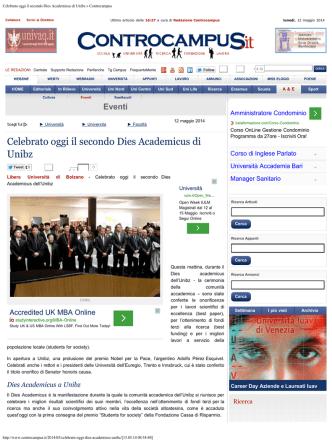 Celebrato oggi il secondo Dies Academicus di Unibz » Controcampus