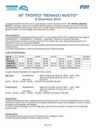 30° TROFEO SENAGO NUOTO 8 Dicembre 2014