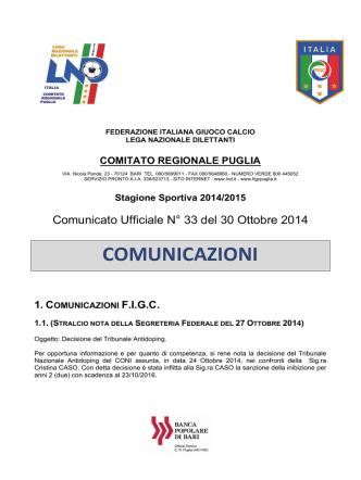 Comunicato Ufficiale n. 33