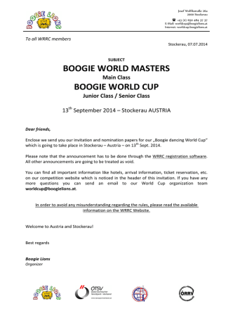 BOOGIE WORLD MASTERS BOOGIE WORLD CUP