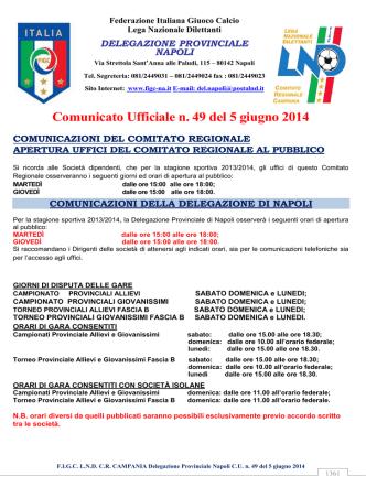 Comunicato Ufficiale n. 49 del 5 giugno 2014