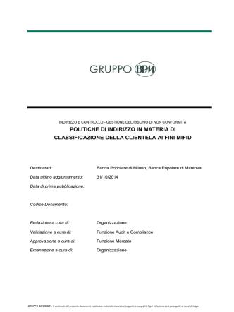 Classificazione della clientela ai fini MIFID