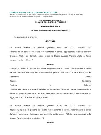 Consiglio di Stato, sez. V, 31 marzo 2014, n. 1541