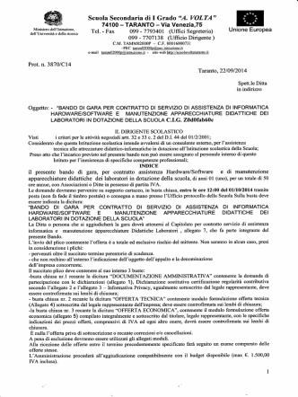 BANDO Dl GARA PER CONTRATTO Dl SERVIZIO DI ASSISTENZA