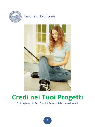 Credi nei Tuoi Progetti - Economia - Università degli Studi di Foggia