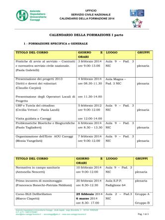 2014 Calendario formazione volontari