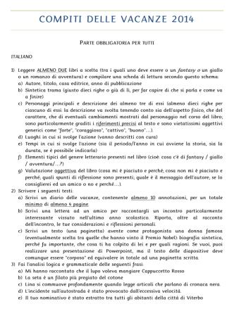 Compiti delle vacanze 2014 – Seconda A