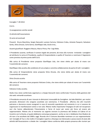 Consiglio 7 -09 2014 OdG - Associazione TZUR San Giovanni di Sinis