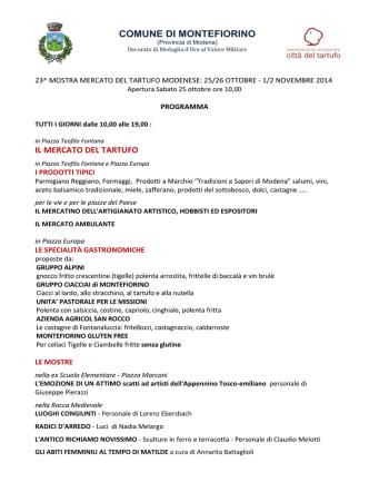 Anteprima 2014 - Mostra Mercato del tartufo modenese