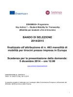 BANDO DI SELEZIONE 2014/2015 finalizzato all
