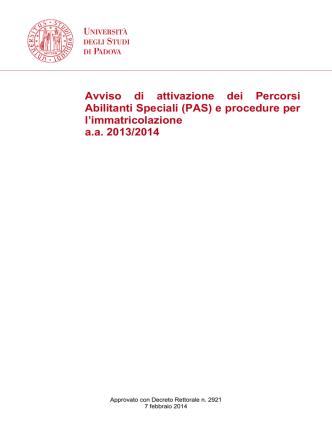 Avviso di attivazione dei Percorsi Abilitanti Speciali (PAS) e