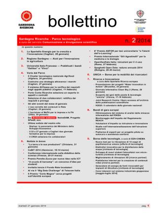 Bollettino n. 2/2014 - Sardegna Ricerche presenta lo Sportello Energia