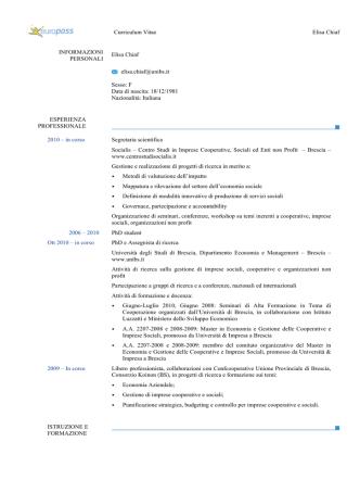 Curriculum Vitae - Centro Studi Socialis