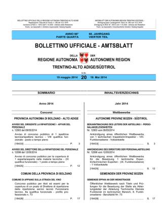 Bollettino n. 20 del 19 maggio 2014