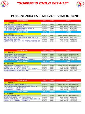 (A) del 04 GENNAIO 2015 cat. Pulcini e Piccoli Amici