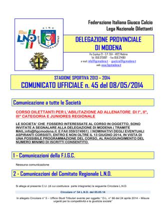 COMUNICATO UFFICIALE n. 45 del 08/05/2014