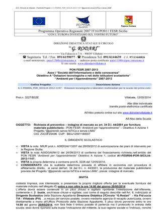 ALBO - Richiesta preventivo pubblicità A1-FESR06-POR
