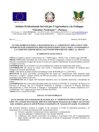 bando reclutamento assistenti IPASR - Ufficio II – Ambito Territoriale