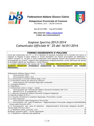 Comunicato Ufficiale N° 25 del 16/01/2014