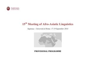 15 Meeting of Afro-Asiatic Linguistics - Università di Roma
