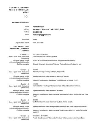 CV . Link a PDF - Università degli Studi della Tuscia