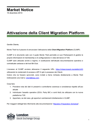 Attivazione T2S Client Migration Platform