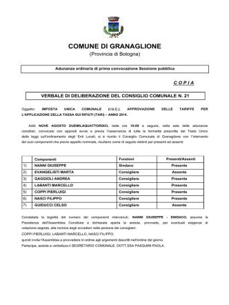 deliberatariffetari - Comune di Granaglione