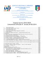 Comunicato Ufficiale N° 64 del 29/05/2014
