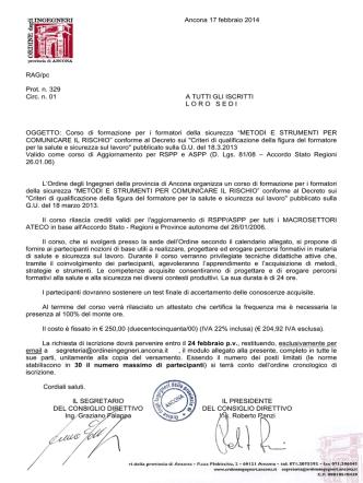 Ancona 17 febbraio 2014 RAG/pc Prot. n. 329 Circ. n. 01 A TUTTI