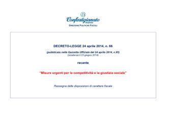 """DECRETO-LEGGE 24 aprile 2014, n. 66 recante """"Misure urgenti per"""
