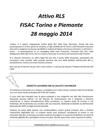 Attivo RLS FISAC Torino e Piemonte 28 maggio 2014