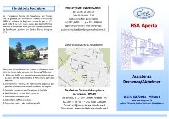 Brochure RSA Aperta - Fondazione Centro di Accoglienza per Anziani