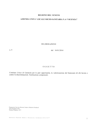del 16/01/2014 OGGETTO Comitato Unico di