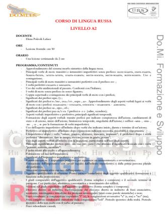 CORSO DI LINGUA RUSSA LIVELLO A2