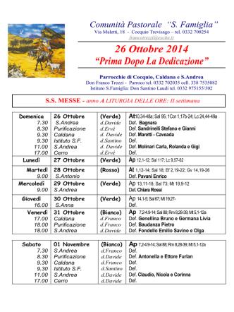"""26 Ottobre 2014 """"Prima Dopo La Dedicazione"""""""