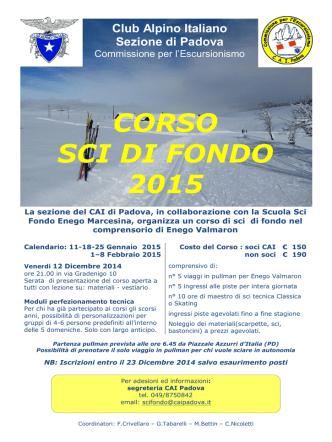 CORSO SCI DI FONDO 2015 - CAI Sezione di Padova