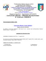 Stagione Sportiva – Sportsaison 2014/2015 Comunicato