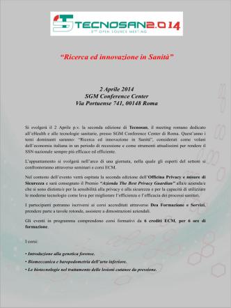 BROCHURE Tecnosan 2014 Second Open Sourc[...]