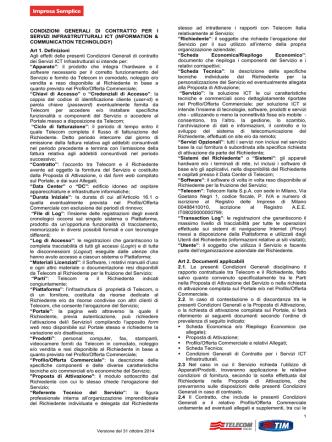 Condizioni Generali di contratto per i servizi