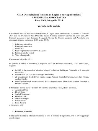 aprile 2014 - AILA - Associazione Italiana di Logica e sue Applicazioni