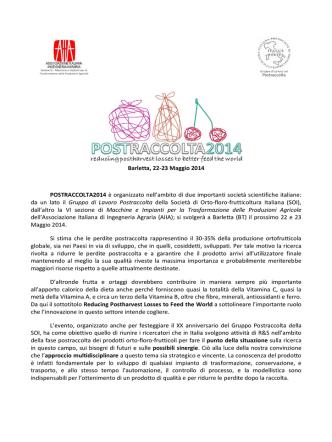 Barletta, 22-23 Maggio 2014 POSTRACCOLTA2014 è organizzato