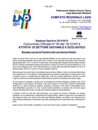 Comunicato Ufficiale N° 50 del 18/12/2014