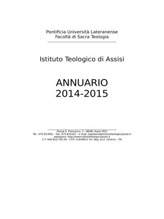 Annuario 2014/15 - istituto teologico assisi