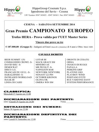 02__ Cavalli Iscritti G.P. CAMPIONATO EUROPEO 2014