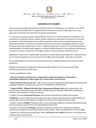 Comunicato stampa Direzione Generale USR Lombardia