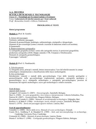 A.A. 2013/2014 SCUOLA DI SCIENZE E TECNOLOGIE