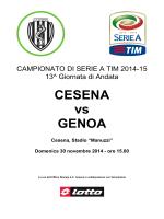 Scarica il match analysis di Cesena-Genoa