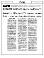Le Rurali vendono case e sofferenze