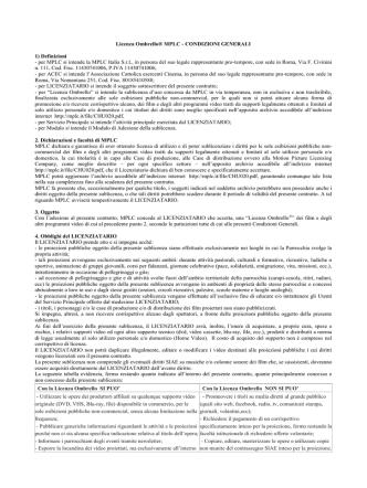Condizioni generali Licenza Ombrello
